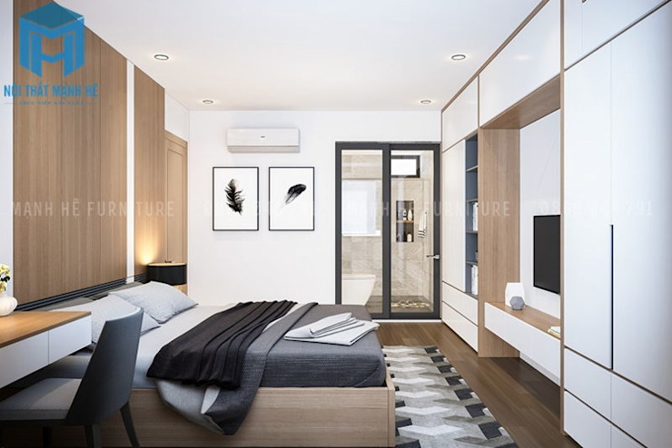 Phòng ngủ master nhìn từ trong ra ngoài khá thoáng đãng Phòng ngủ phong cách hiện đại bởi Công ty TNHH Nội Thất Mạnh Hệ Hiện đại