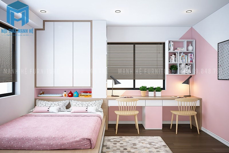 Phòng ngủ nhỏ của các bé gái khá tinh tế và ngọt ngào với gam màu hồng dễ thương Phòng ngủ phong cách hiện đại bởi Công ty TNHH Nội Thất Mạnh Hệ Hiện đại