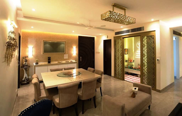 Dining & Pooja room - Residence at The Belaire, Golf Course Road Modern dining room by The Workroom Modern