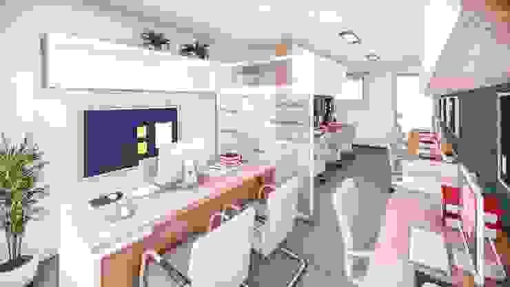 Diseño del área de trabajo del personal contable de AS Arquitectura e Interiores Moderno Derivados de madera Transparente