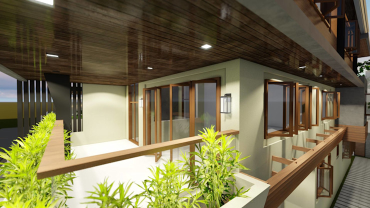 3-Storey Residence, Taguig:  Balcony by Structura Architects