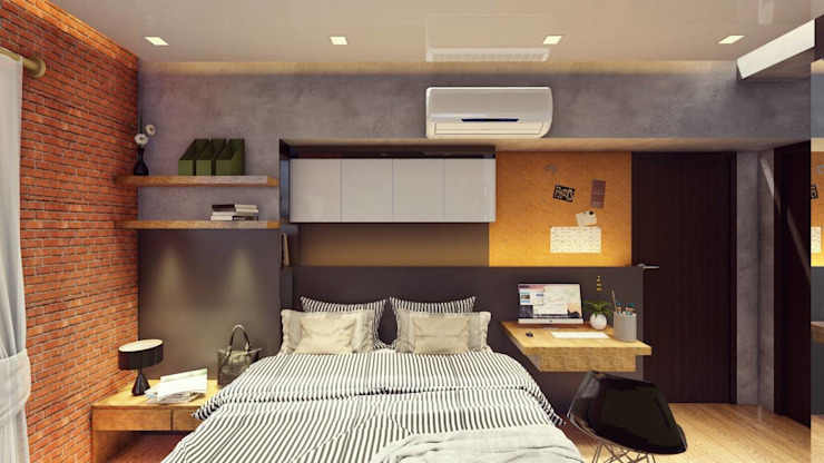 Bedroom - Final Scheme by Structura Architects Industrial Copper/Bronze/Brass
