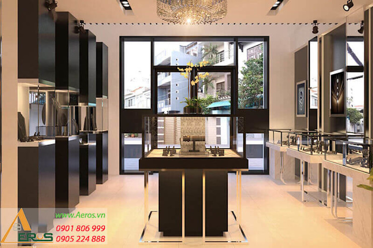 Thiet Ke Thi Cong Showroom Kim Cuong PNJ Jewelry Tai Go Vap bởi xuongmocso1 Hiện đại