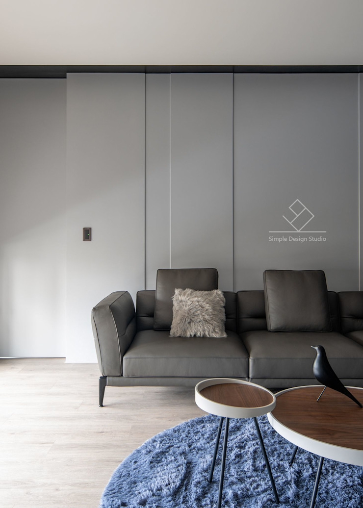 沙發背牆 现代客厅設計點子、靈感 & 圖片 根據 極簡室內設計 Simple Design Studio 現代風