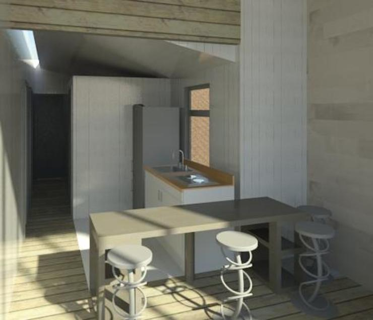 Interior casa madera minimalista de Incove - Casas de madera minimalistas