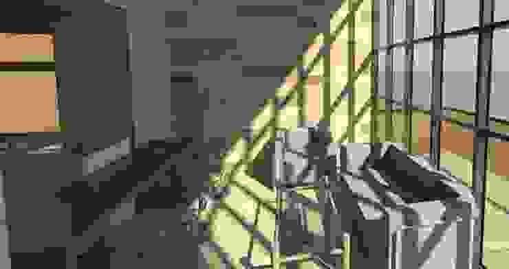 living cabaña minimalista con panel vidriado de Incove - Casas de madera minimalistas