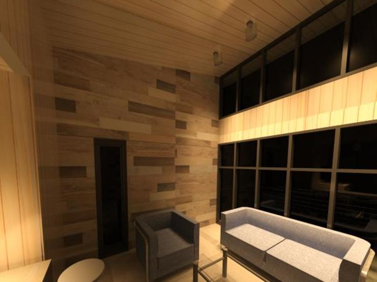 prueba de luces led en panel vidriado de Incove - Casas de madera minimalistas