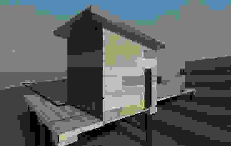 vista exterior lateral modelo 3d boceto de Incove - Casas de madera minimalistas