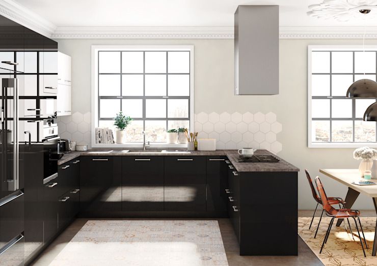Crystal Negro de TPC Instalación de cocinas en Parets del Vallès Moderno