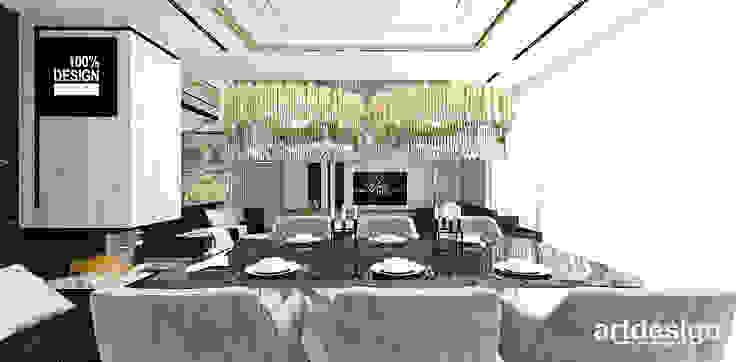 projekt salonu z jadalnią Eklektyczna jadalnia od ARTDESIGN architektura wnętrz Eklektyczny