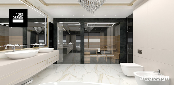 projekt łazienki z sauną Eklektyczna łazienka od ARTDESIGN architektura wnętrz Eklektyczny