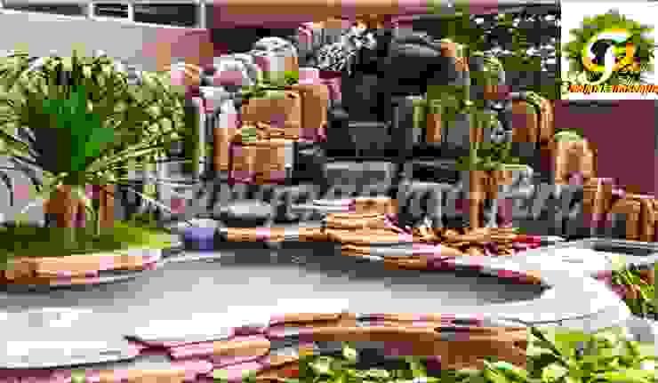 TEBING DEKORASI DAN KOLAM Dinding & Lantai Tropis Oleh Tukang Taman Surabaya - Tianggadha-art Tropis Batu Bata