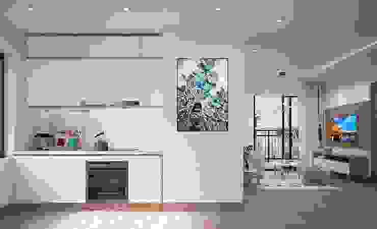 Hệ thống tủ bếp màu trắng khá sạch sẽ Nhà bếp phong cách hiện đại bởi Công ty TNHH Nội Thất Mạnh Hệ Hiện đại