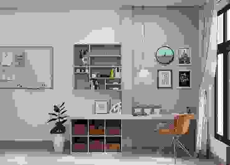 Bàn làm việc cùng kệ sách nhỏ trong phòng ngủ master Phòng ngủ phong cách hiện đại bởi Công ty TNHH Nội Thất Mạnh Hệ Hiện đại