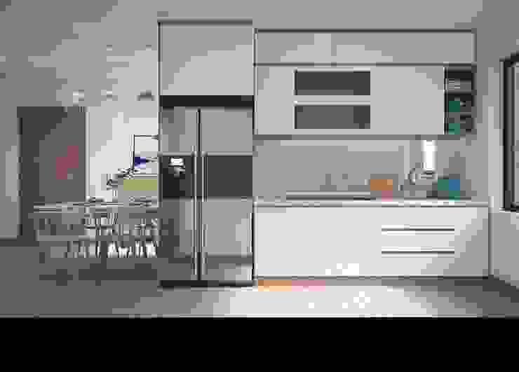 Không gian phòng bếp khá rộng rãi và thoáng đãng Nhà bếp phong cách hiện đại bởi Công ty TNHH Nội Thất Mạnh Hệ Hiện đại