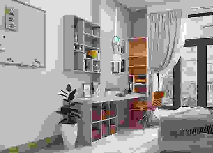 Bàn làm việc cùng hệ thống tủ sách màu xanh Phòng ngủ phong cách hiện đại bởi Công ty TNHH Nội Thất Mạnh Hệ Hiện đại