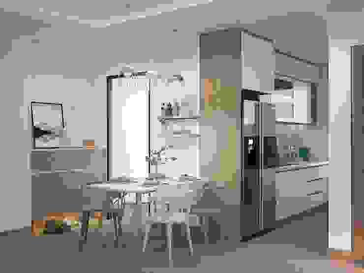 Bộ bàn ăn được đặt sát bên hệ thống tủ bếp Nhà bếp phong cách hiện đại bởi Công ty TNHH Nội Thất Mạnh Hệ Hiện đại