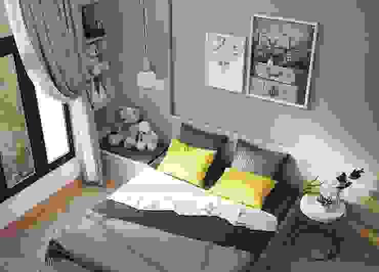Giường ngủ được bố trí khá đơn giản Phòng ngủ phong cách hiện đại bởi Công ty TNHH Nội Thất Mạnh Hệ Hiện đại