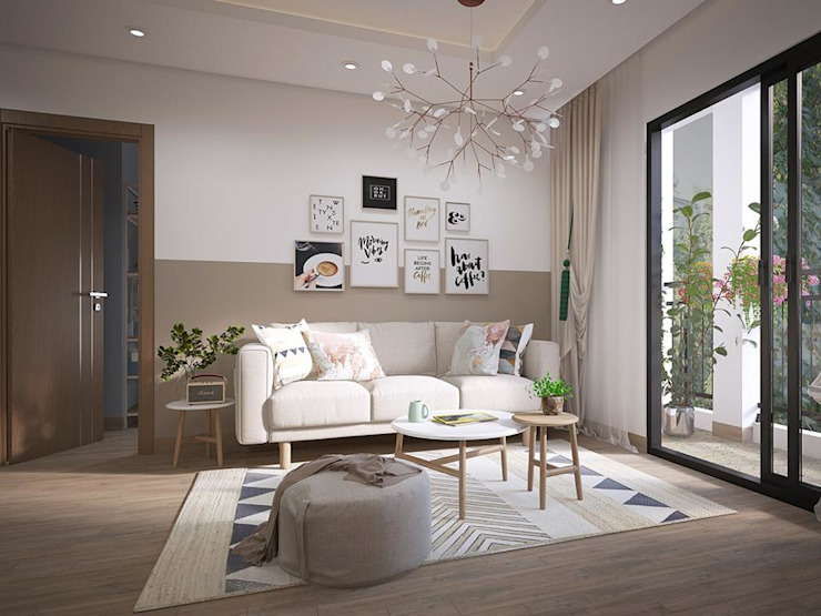 bộ ghế sofa nệm hình chữ I khá đơn giản được đặt ngay trung tâm phòng khách bởi Công ty TNHH Nội Thất Mạnh Hệ Hiện đại