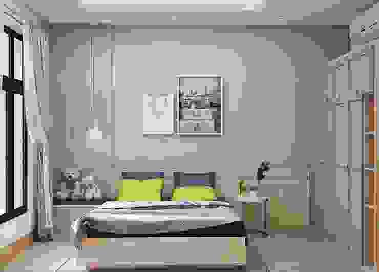phòng ngủ master được trang trí khá đơn giản nhưng không kém phần hiện đại Phòng ngủ phong cách hiện đại bởi Công ty TNHH Nội Thất Mạnh Hệ Hiện đại
