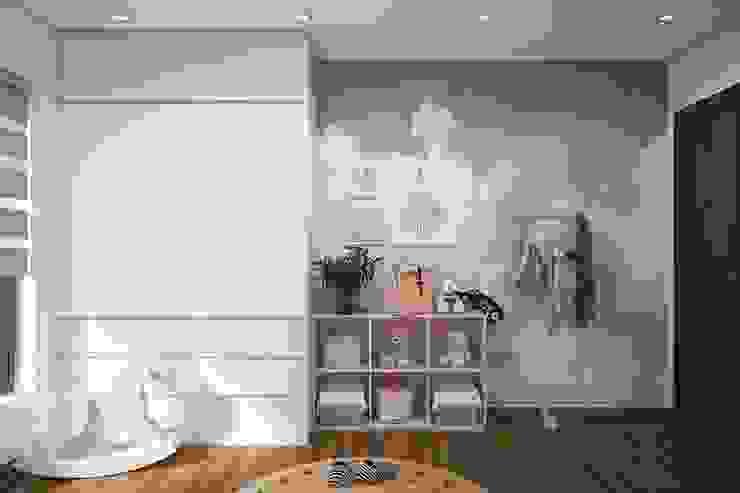 Tủ quần áo cùng kệ trang trí bằng gỗ trong phòng ngủ nhỏ bởi Công ty TNHH Nội Thất Mạnh Hệ Hiện đại