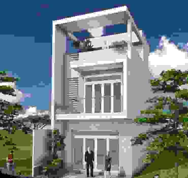 KTS tư vấn thiết kế nhà ống 2 tầng 1 tum hiện đại và tiện nghi bởi Kiến Trúc Xây Dựng Incocons