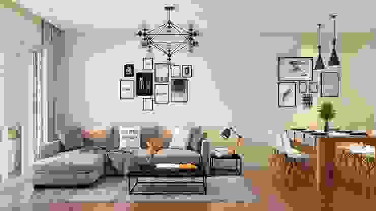 Bộ ghế sofa nệm phòng khách khá snag trọng và hiện đại bởi Công ty TNHH Nội Thất Mạnh Hệ Hiện đại