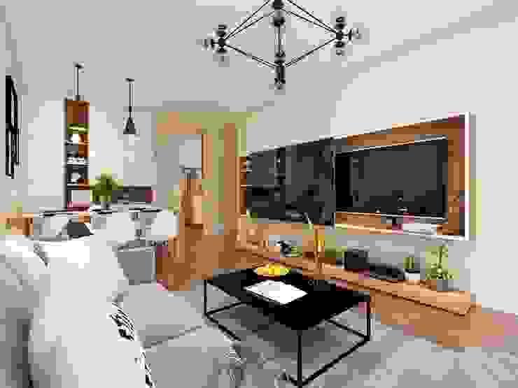 Nội thất phòng khách khá đầy đủ trang thiết bị nội thất bởi Công ty TNHH Nội Thất Mạnh Hệ Hiện đại