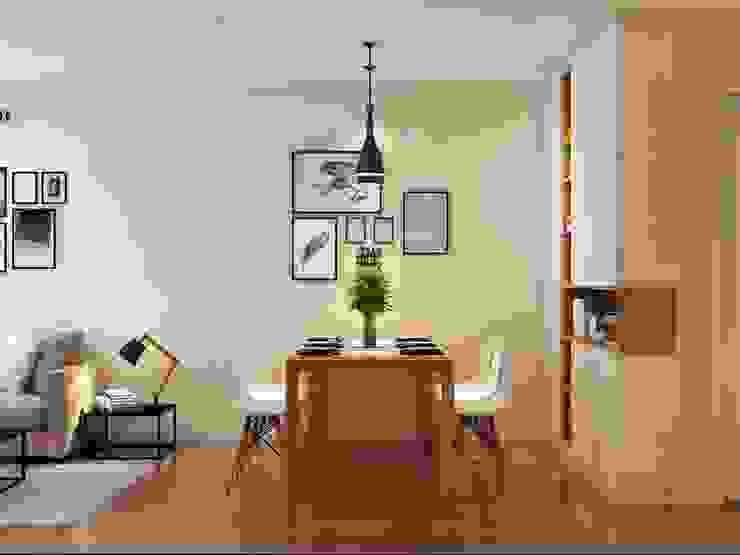 Bộ bàn ăn được đặt kế bên không gian phòng khách Nhà bếp phong cách hiện đại bởi Công ty TNHH Nội Thất Mạnh Hệ Hiện đại