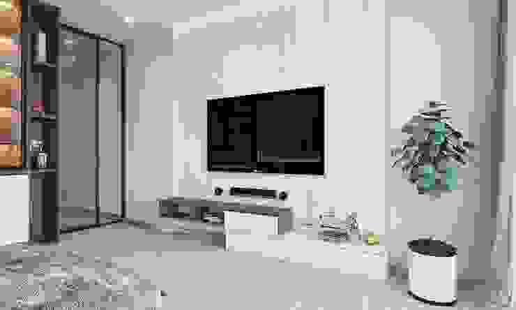 Kệ tivi trong không gian phòng ngủ master Phòng ngủ phong cách hiện đại bởi Công ty TNHH Nội Thất Mạnh Hệ Hiện đại