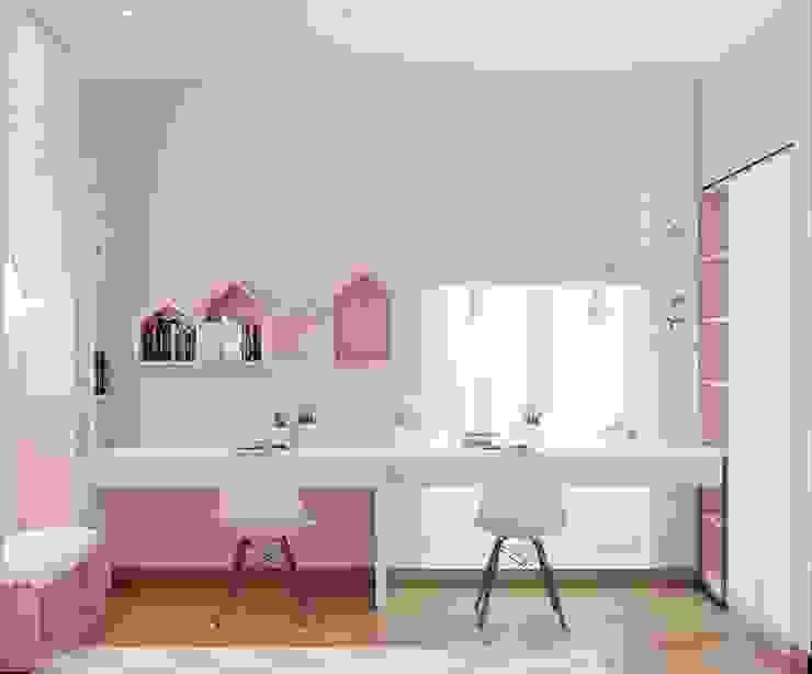 Không gian học tập trong phòng ngủ nhỏ Phòng ngủ phong cách hiện đại bởi Công ty TNHH Nội Thất Mạnh Hệ Hiện đại