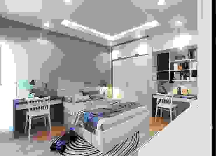 Tổng thể nội thất phòng ngủ nhỏ màu xanh Phòng ngủ phong cách hiện đại bởi Công ty TNHH Nội Thất Mạnh Hệ Hiện đại