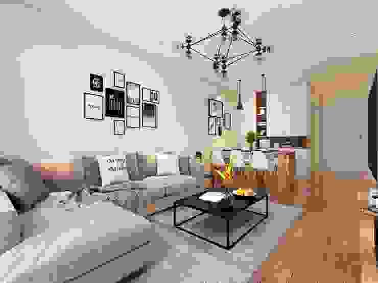 Bộ ghế sofa phòng khách hình chữ L bởi Công ty TNHH Nội Thất Mạnh Hệ Hiện đại