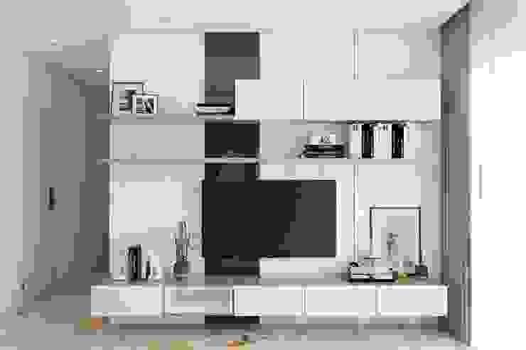 hệ thống tủ tivi màu trắng hiện đại bởi Công ty TNHH Nội Thất Mạnh Hệ Hiện đại