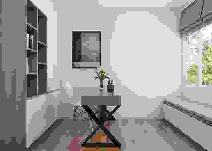phòng làm việc được bố trí một chiếc bàn gỗ cùng kệ tủ âm tường chứa sách Phòng học/văn phòng phong cách hiện đại bởi Công ty TNHH Nội Thất Mạnh Hệ Hiện đại