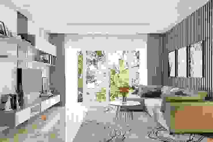 Không gian phòng khách khá rộng rãi và thoáng đãng bởi Công ty TNHH Nội Thất Mạnh Hệ Hiện đại