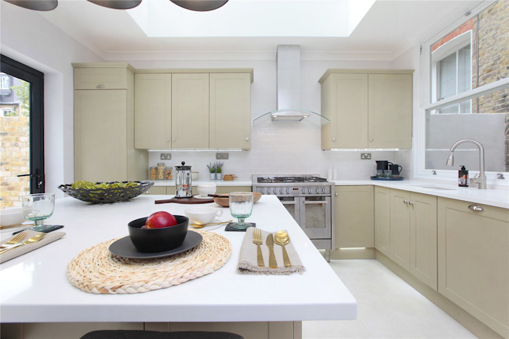 Design and Build London Renovation KitchenCabinets & shelves Engineered Wood Beige