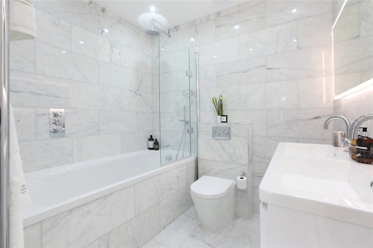 Design and Build London Renovation Modern bathroom Concrete White