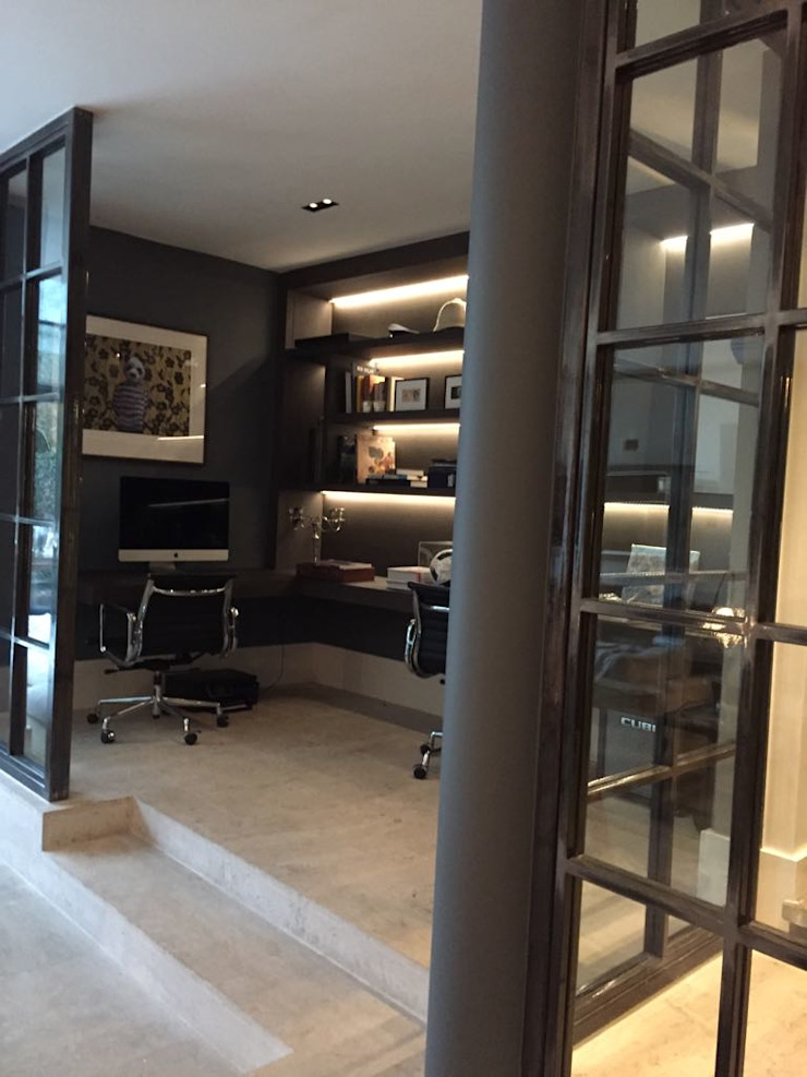 Bespoke House Extension project w4 Modern Study Room and Home Office by Design and Build London Renovation Modern