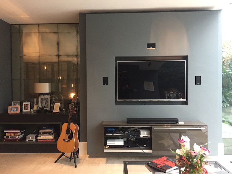 Bespoke House Extension project w4 Modern Media Room by Design and Build London Renovation Modern