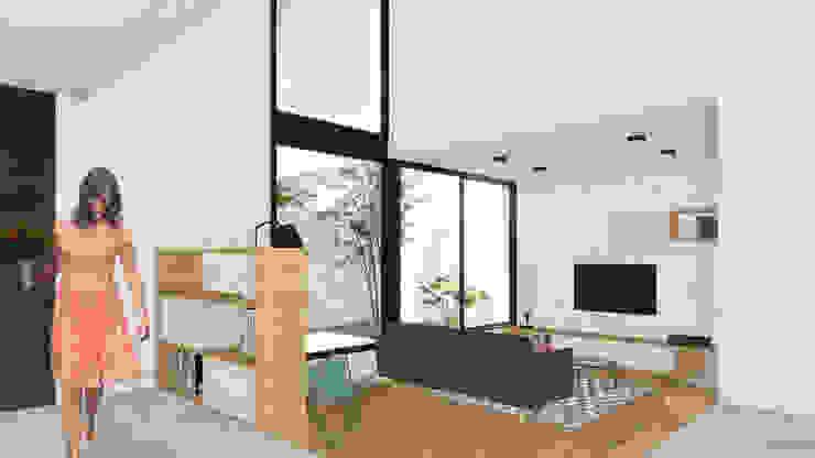 Гостиная в стиле модерн от VP Arquitectura Модерн Кирпичи