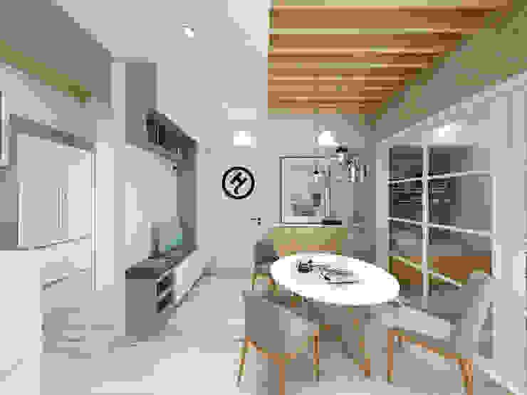 17坪北歐風兩房一廳-完成設計 知森數位開發有限公司 餐廳 合板 White