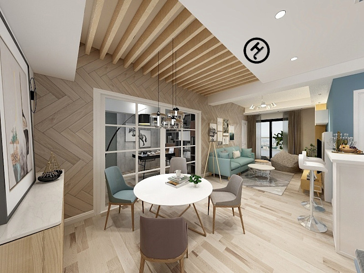 17坪北歐風兩房一廳-完成設計 知森數位開發有限公司 餐廳 複合木地板 Wood effect
