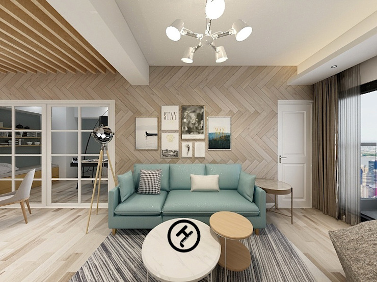 17坪北歐風兩房一廳-完成設計 知森數位開發有限公司 牆面 複合木地板 Wood effect