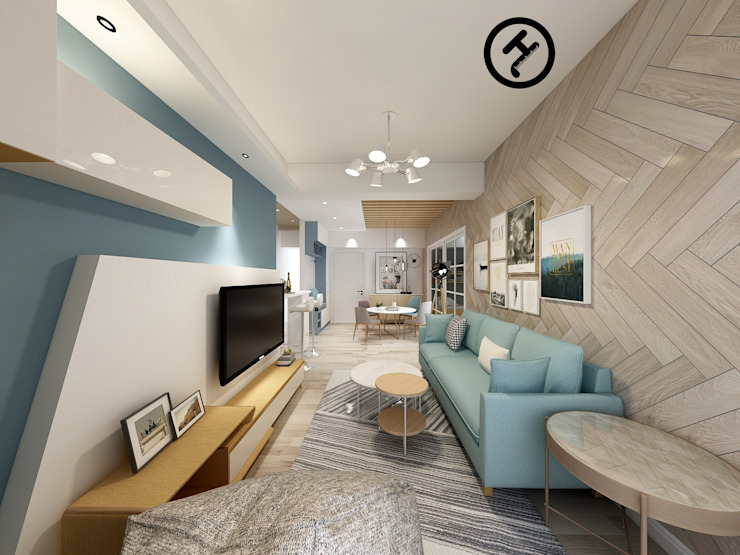 17坪北歐風兩房一廳-完成設計 知森數位開發有限公司 客廳 合板 White