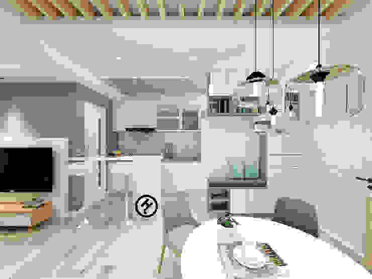 17坪北歐風兩房一廳-完成設計 知森數位開發有限公司 小廚房 塑木複合材料 White
