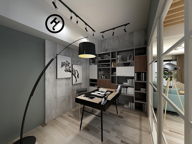 17坪北歐風兩房一廳-完成設計 知森數位開發有限公司 書房/辦公室 塑木複合材料 Grey
