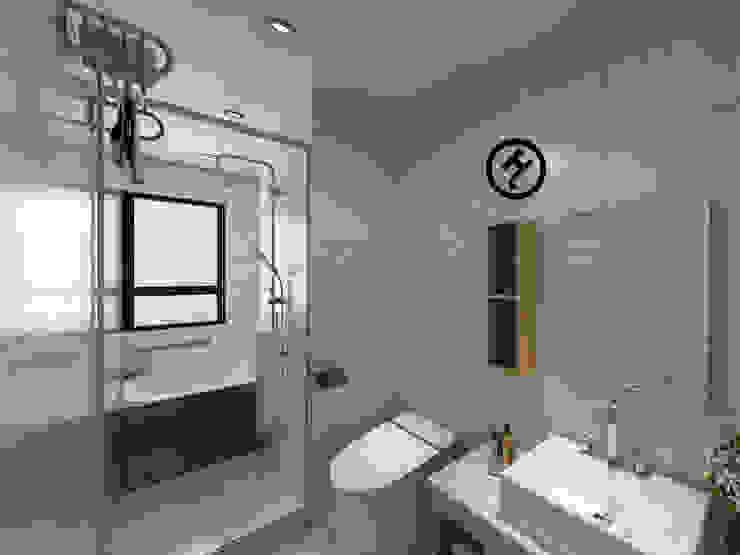 17坪北歐風兩房一廳-完成設計 知森數位開發有限公司 現代浴室設計點子、靈感&圖片 磁磚