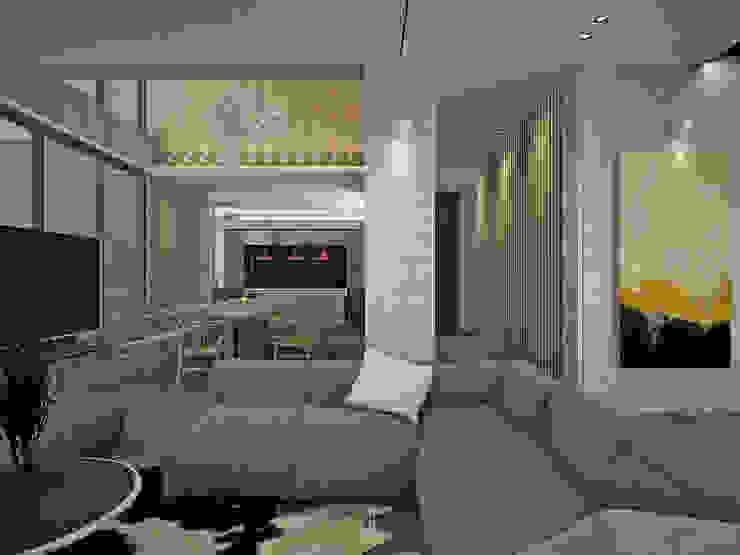 客廳空間3D圖 现代客厅設計點子、靈感 & 圖片 根據 竹村空間 Zhucun Design 現代風