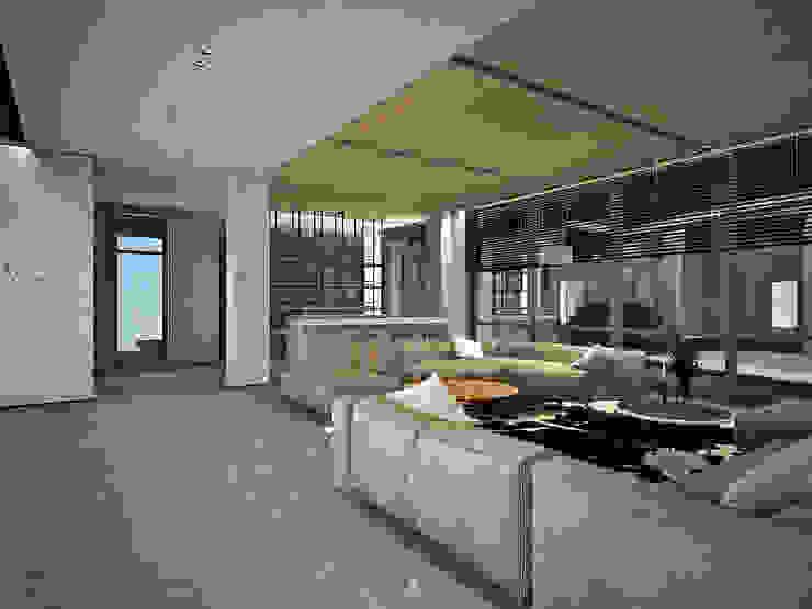 客廳另一視角 现代客厅設計點子、靈感 & 圖片 根據 竹村空間 Zhucun Design 現代風